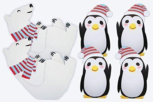 2 Polar Bear 4 Penguin Standees Winter Wonderland Cutout