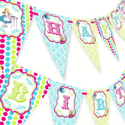 Bowling Pink Happy Birthday Banner Pennant