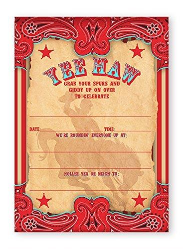 Cowboy Party Invitations 10 Invitations 10 Envelopes
