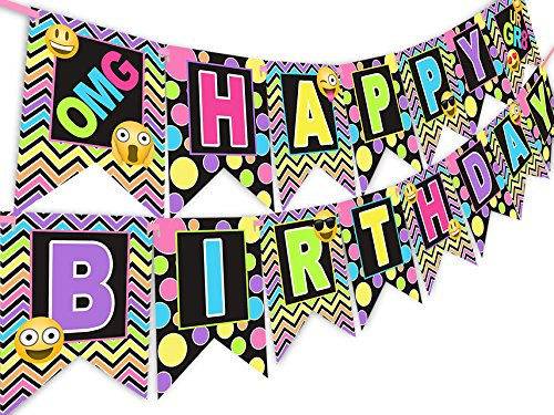 Emoji Rainbow Happy Birthday Banner
