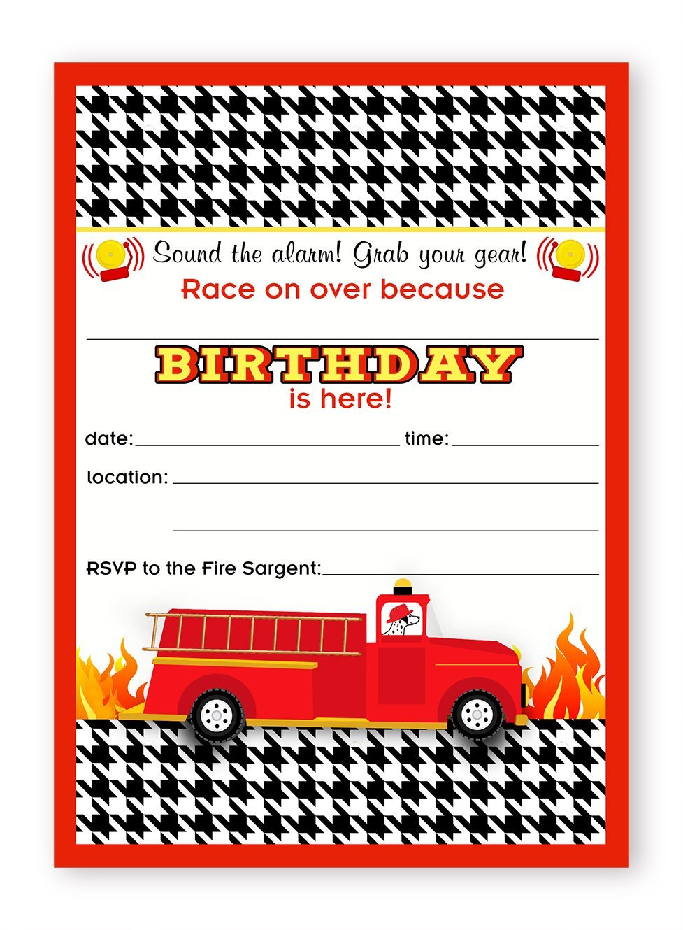 Fireman Party LARGE Invitations – 10 Invitations 10 Envelopes ...