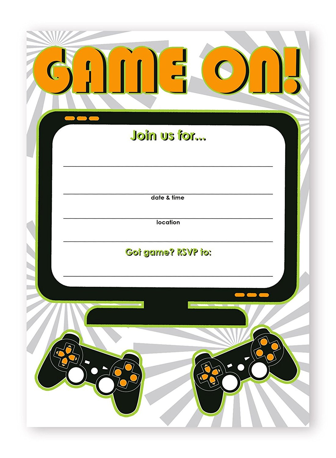 Gaming Party Invitations – 10 Invitations + 10 Envelopes by POP ...