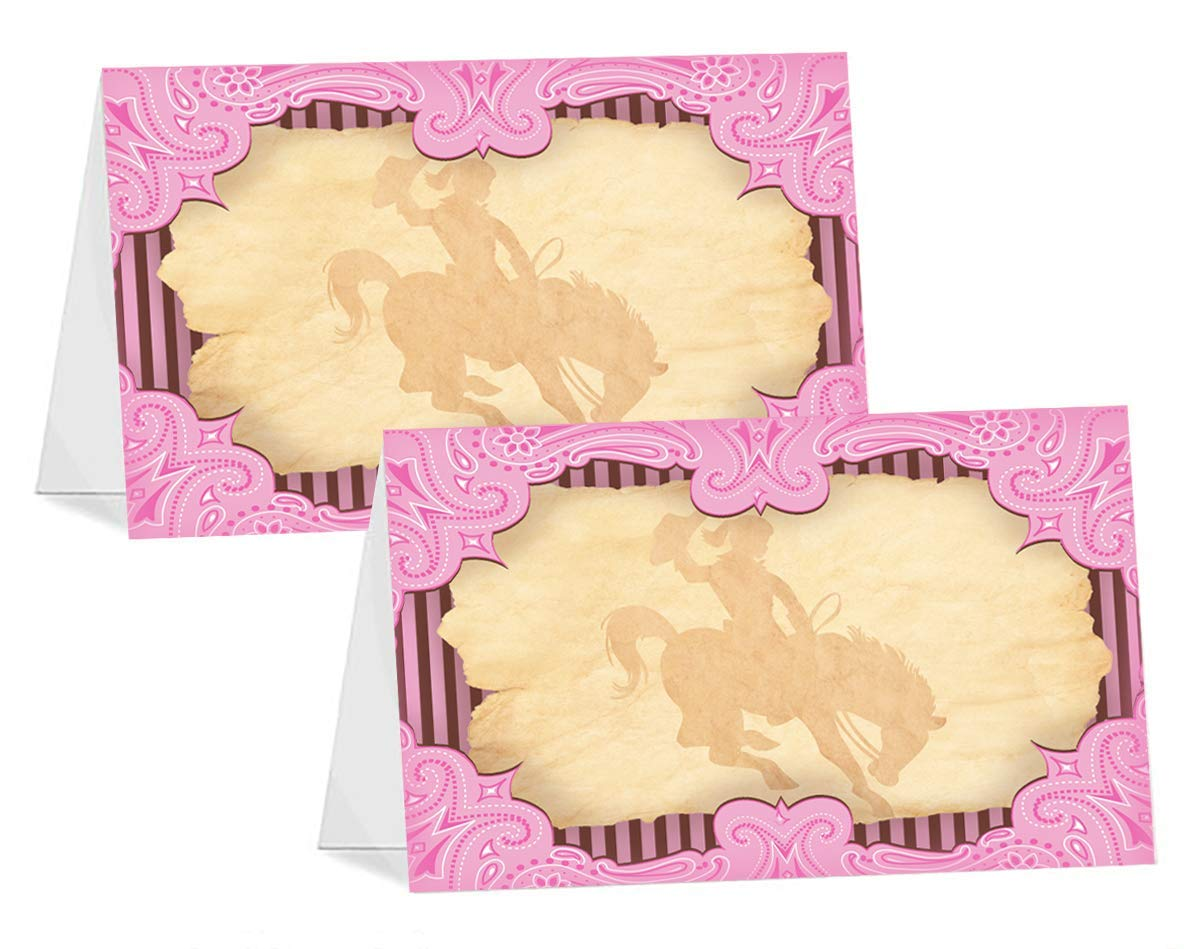 Pop Parties Cowgirl Pink 12 Table Tents Cowgirl Buffet Cards Cowgirl Place Cards Cowgirl Party Decorations Cowgirl Party Supplies Farm