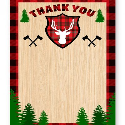 Lumberjack Thank You 40 Favor Bag Stickers Lumberjack Party Favor Stickers