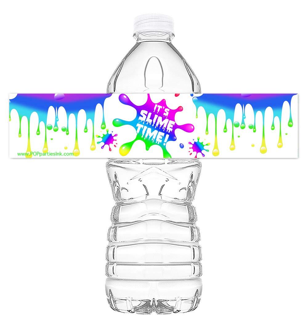 Pop parties slime rainbow party bottle wraps set of 20 waterproof bottle stickers slime water bottle labels slime party decorations rainbow bottle