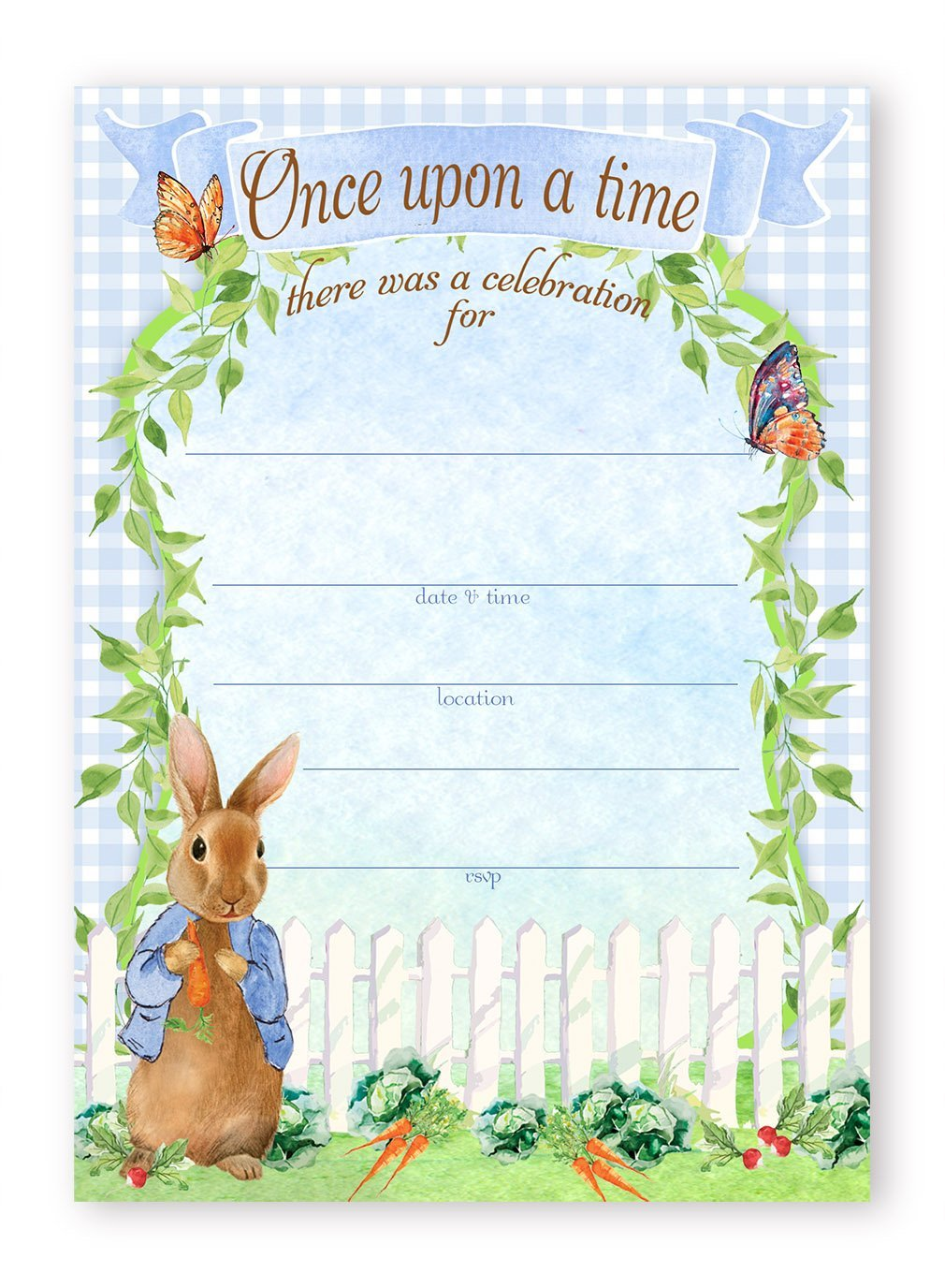 Peter Rabbit Party LARGE Invitations – 10 Invitations 10 Envelopes ...