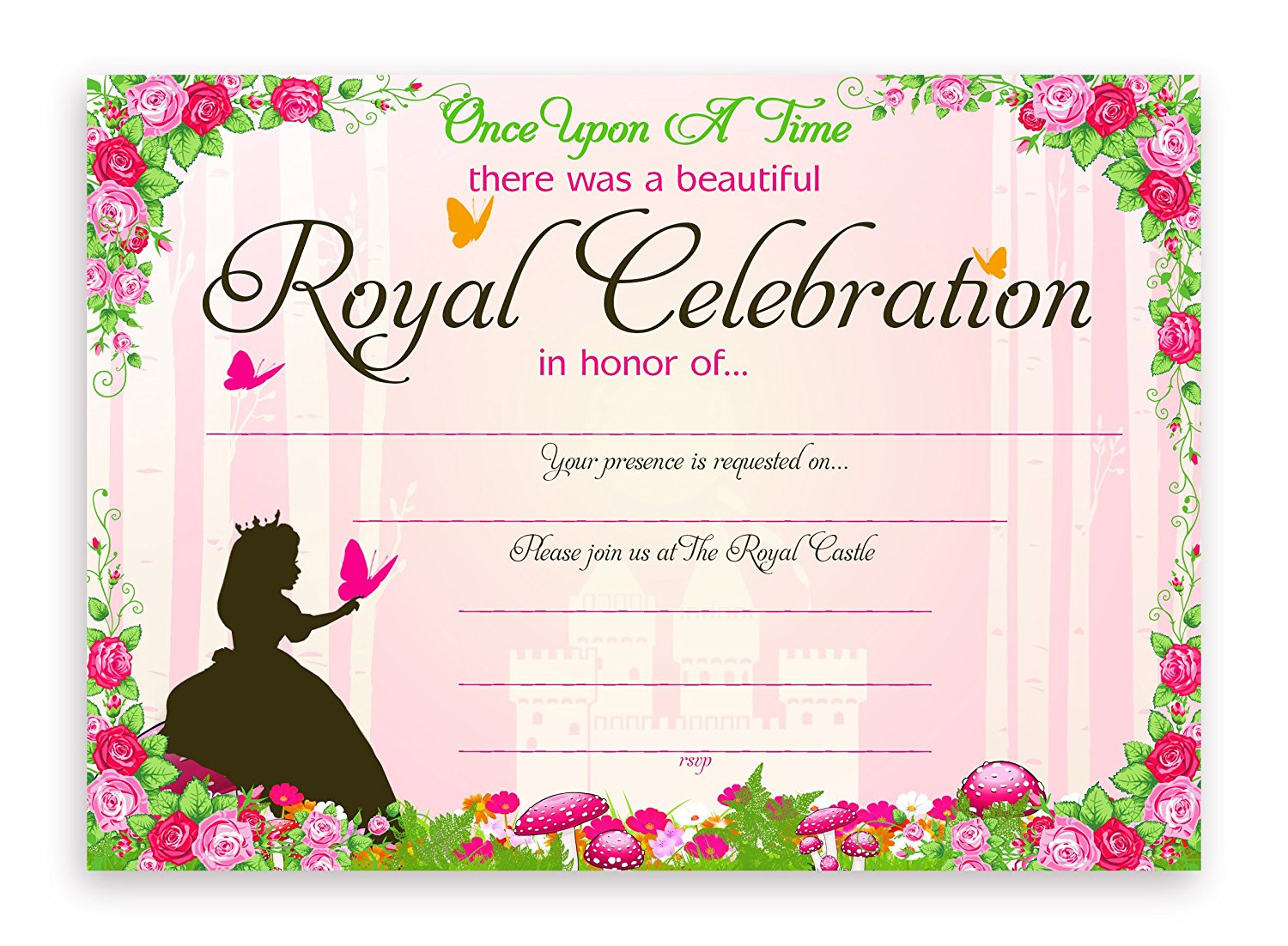 Princess Fairy Tale Party Invitations 10 Invitations 10