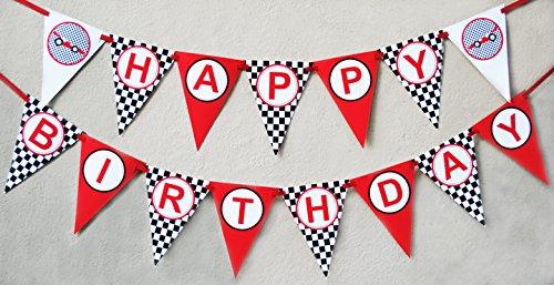 Race Car Birthday Banner Pennant Poppartiesink Com