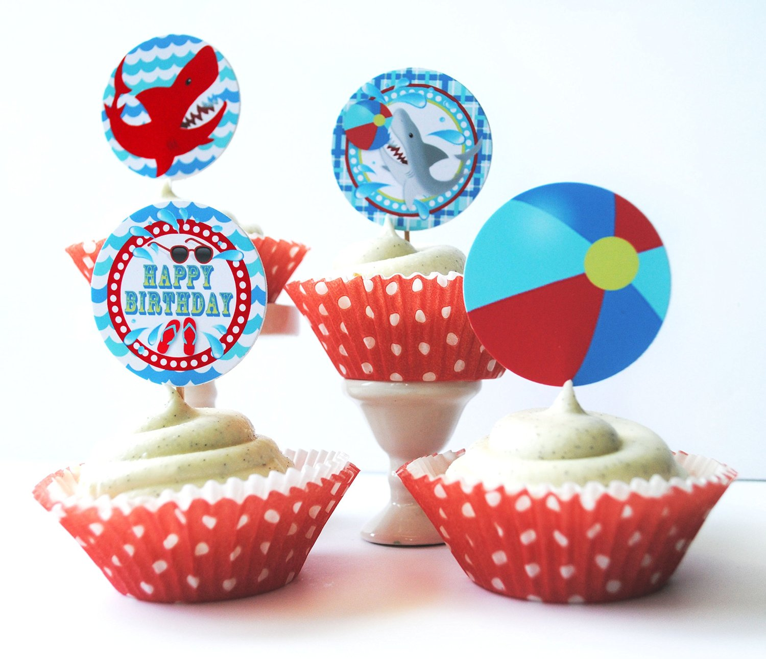 Shark Pool Party Cupcake Kit