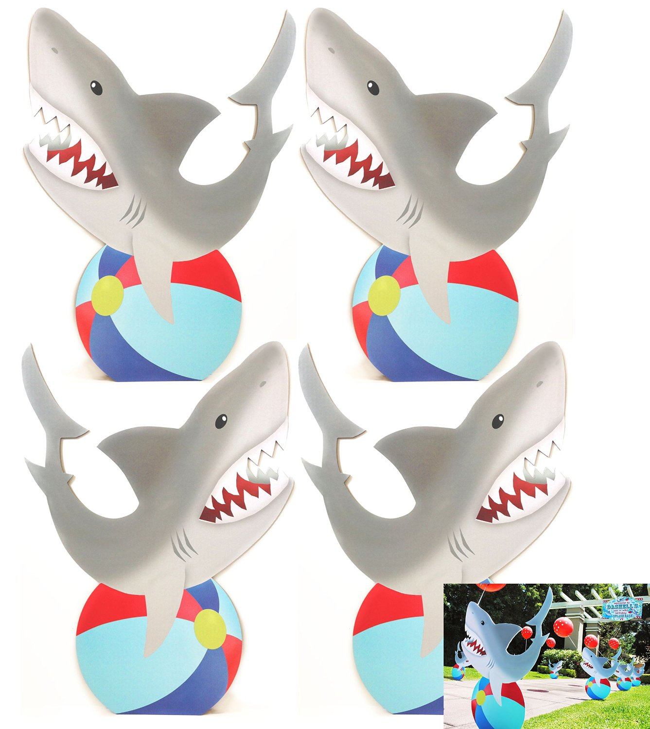 shark standees set of 4 u2013 pool party cutout party decoration