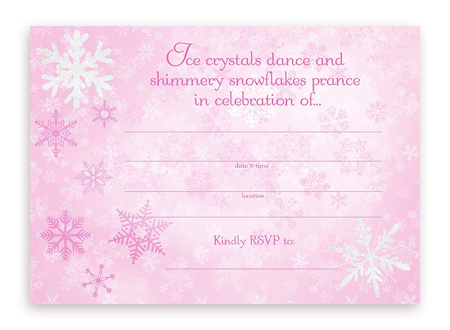 Snow Princess Party Invitations 10 Envelopes Pink By POP Parties