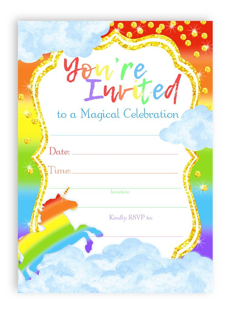 Unicorn Brights LARGE Invitations Rainbow Party ...