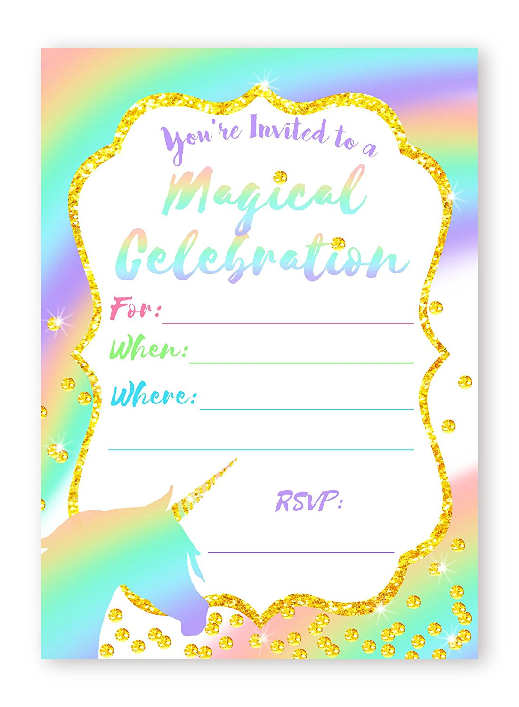 unicorn pastel large invitations rainbow party invitations 10