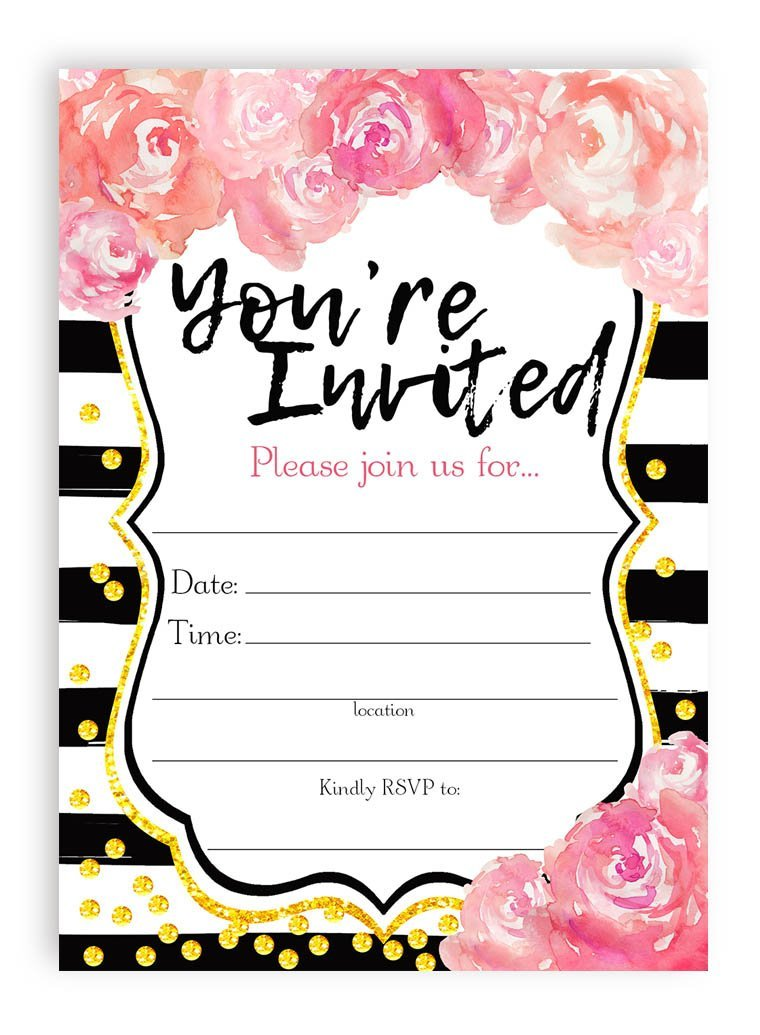 Watercolor Flower Large Invitations