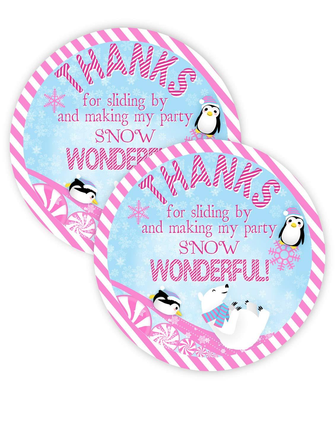Winter Wonderland Pink Party Favor Stickers 40 Favor Bag Stickers